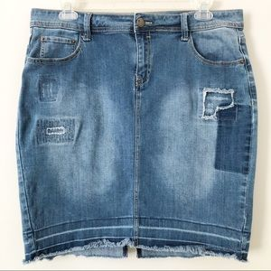 Lane Bryant Distressed Denim Skirt